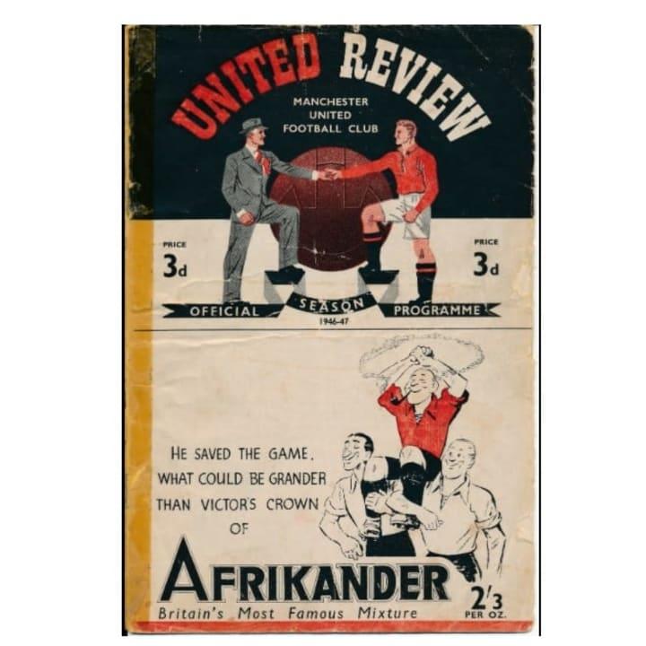 1946 programme from Matt Busby's first league game