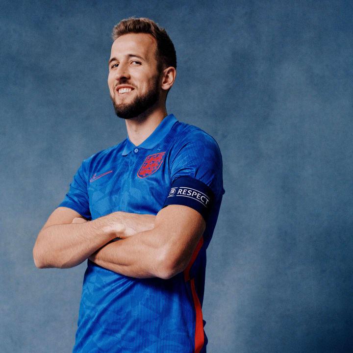 Harry Kane in England's new Euro 2020 away shirt