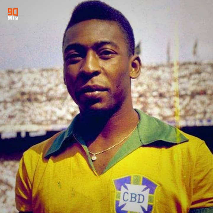 Pele at the 1958 World Cup with Brazil