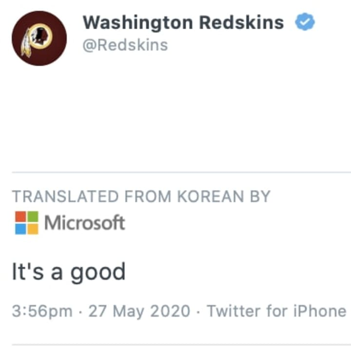 Twitter thinks that this wordless tweet from the Washington Redskins was written in Korean.