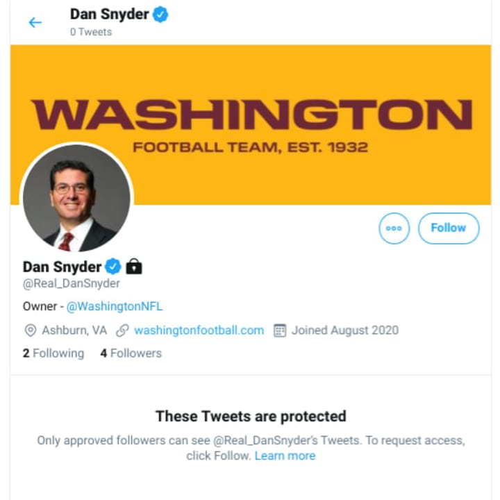 Daniel Snyder's protected Twitter account.