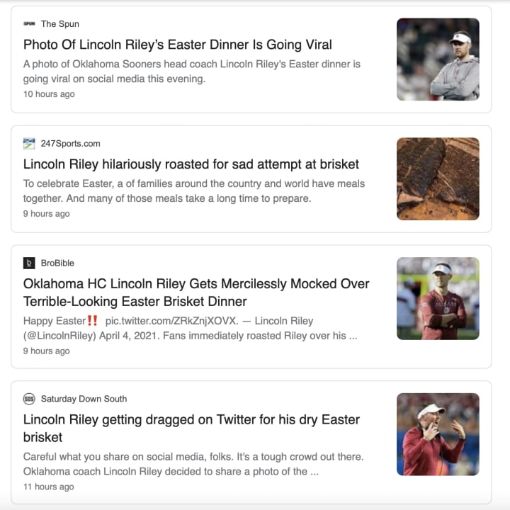 Lincoln Riley's brisket was roasted all over the Internet.