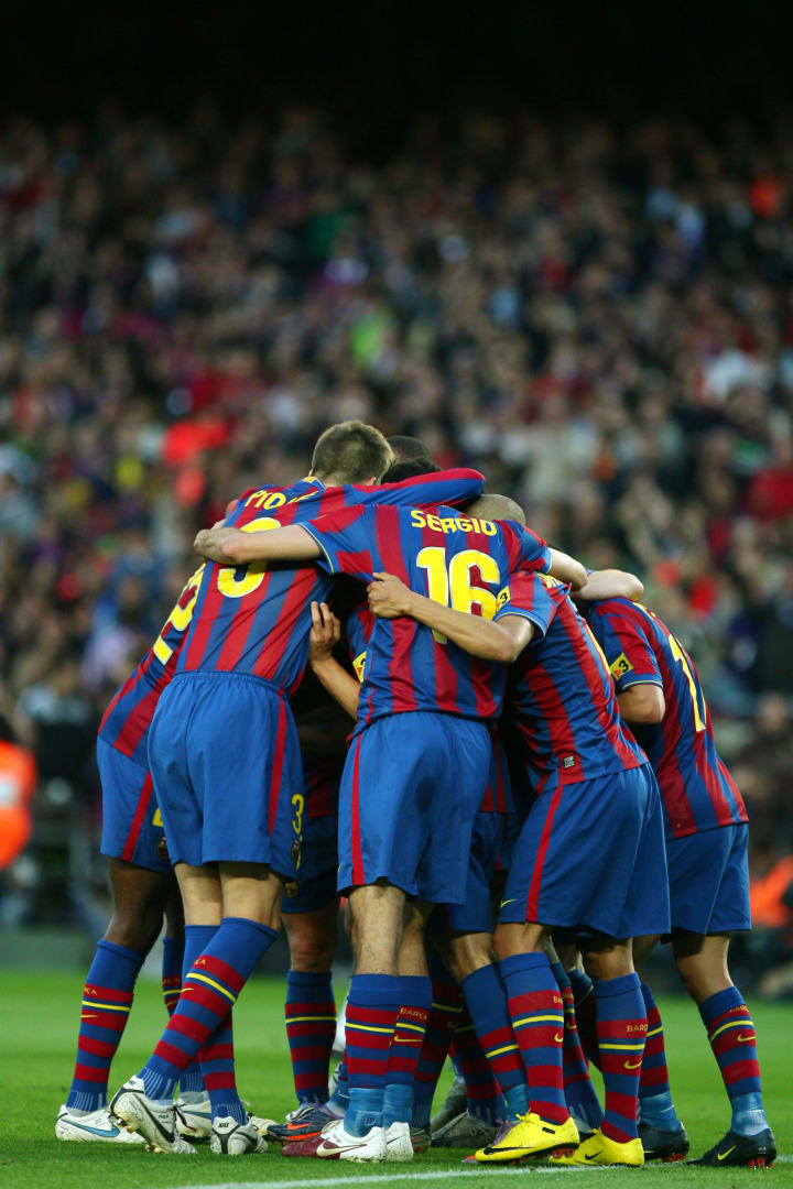 Barcelona's players celebrate after scor