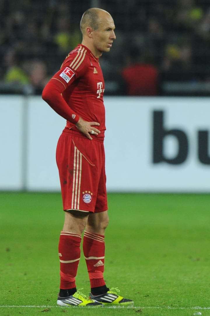 Arjen Robben looking away in disappointment after Bayern's defeat