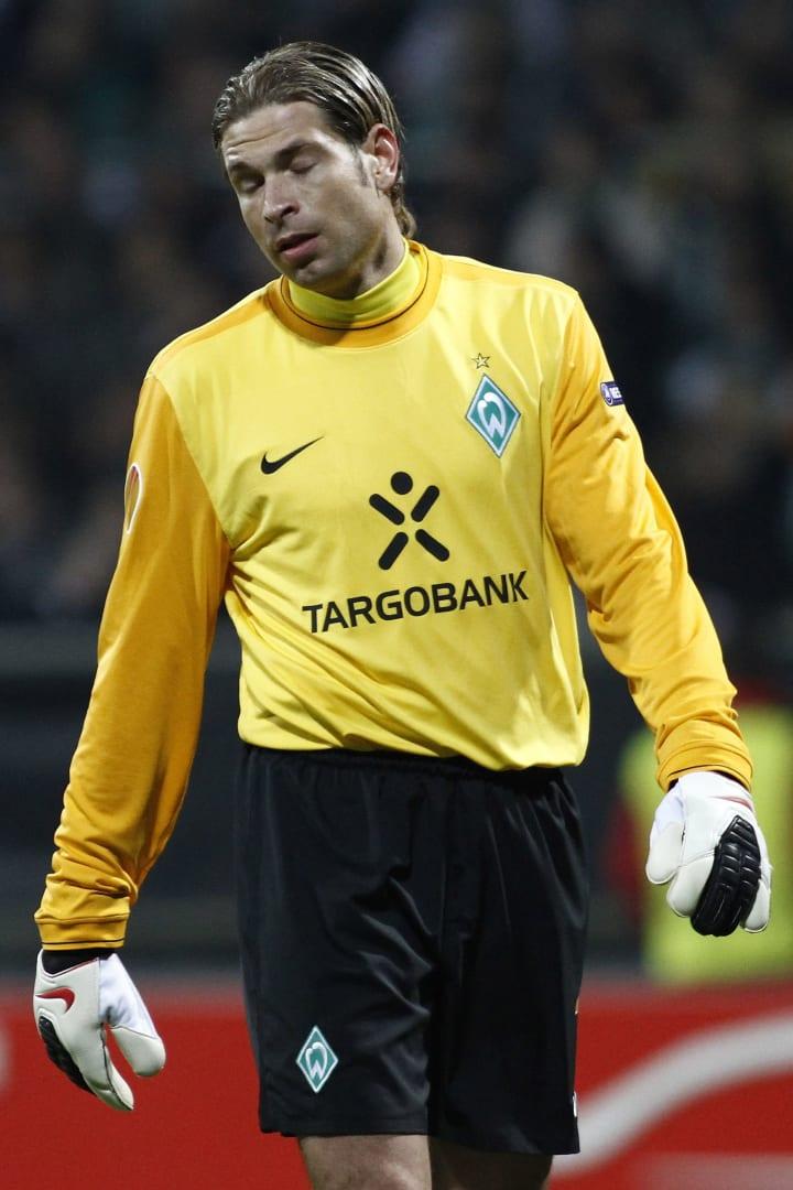 Werder Bremen's goalkeeper Tim Wiese loo