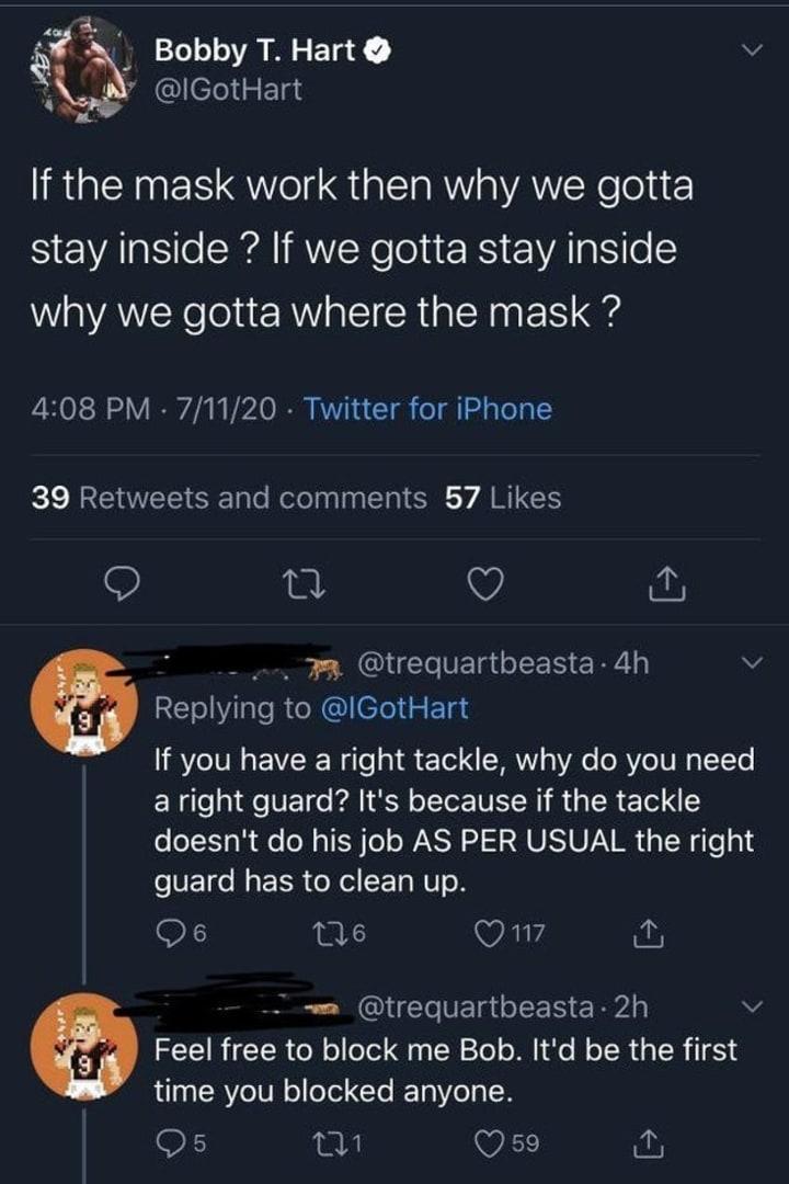 Bobby Hart got roasted by a fan on Twitter.