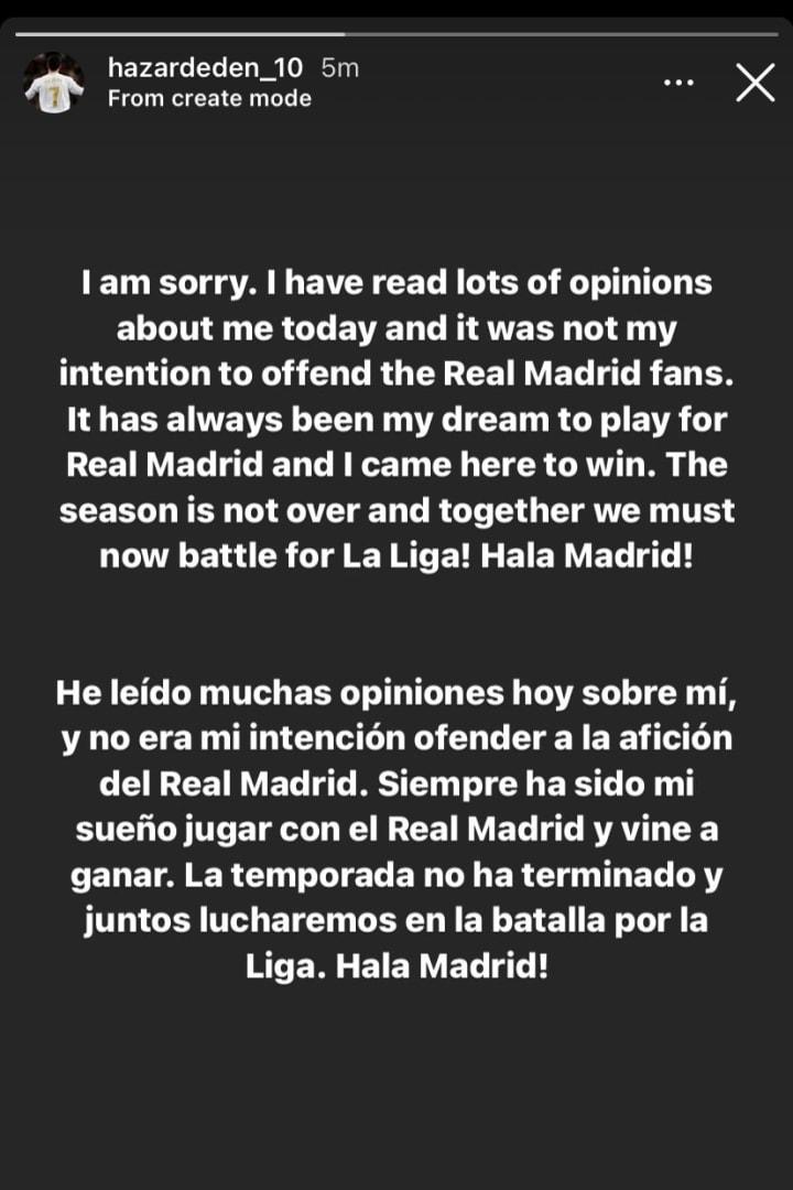 Hazard's message on Instagram
