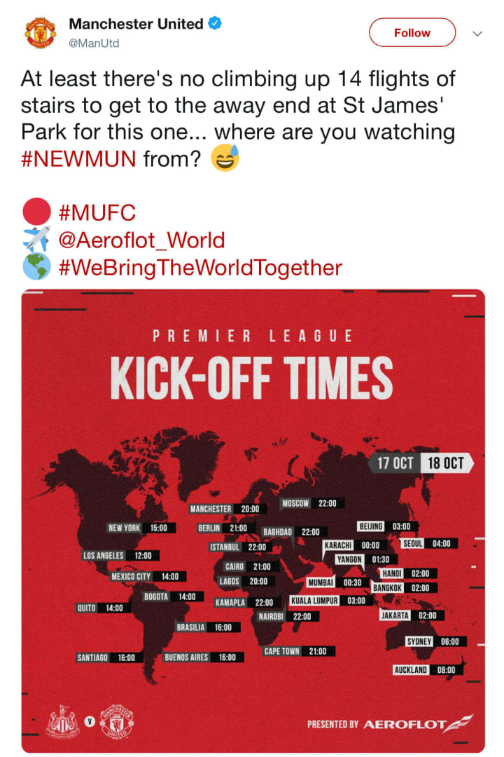 Manchester United's Twitter team quickly deleted the cringeworthy tweet