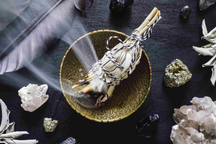 Burning sage is a great way to deodorize a room in a hurry. Just don't use it around pregnant women or babies.