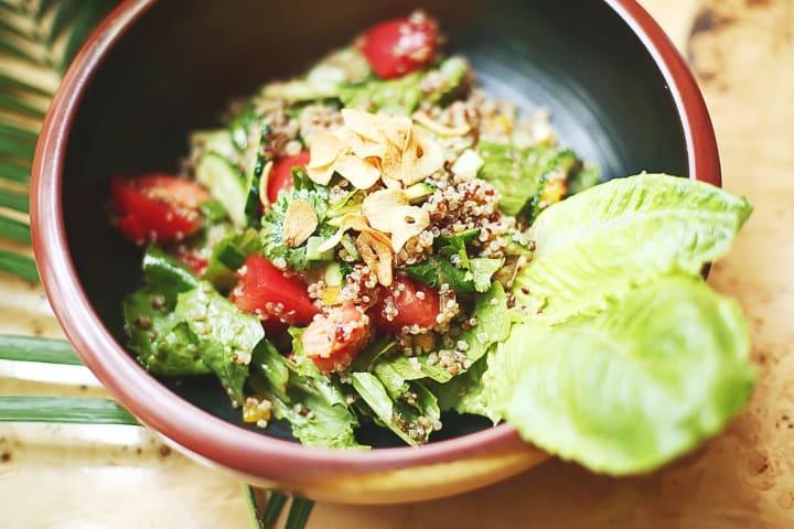 summer fruit and nut salad