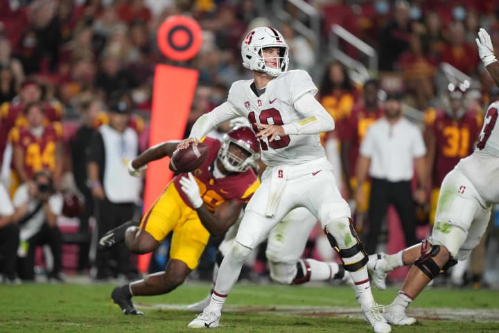 Stanford Cardinal quarterback Tanner McKee (18) throws the ball against the Southern California Trojans on Sept. 11, 2021