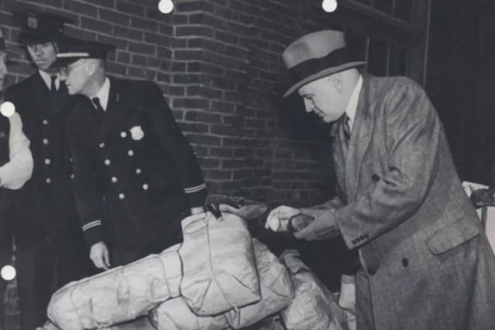 Harry Anslinger inspecting drug haul