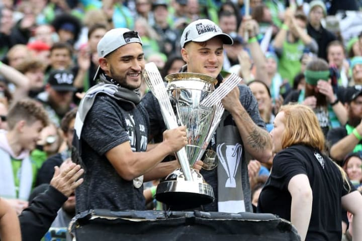 Morris (R) has won two MLS Cup titles with Seattle Sounders