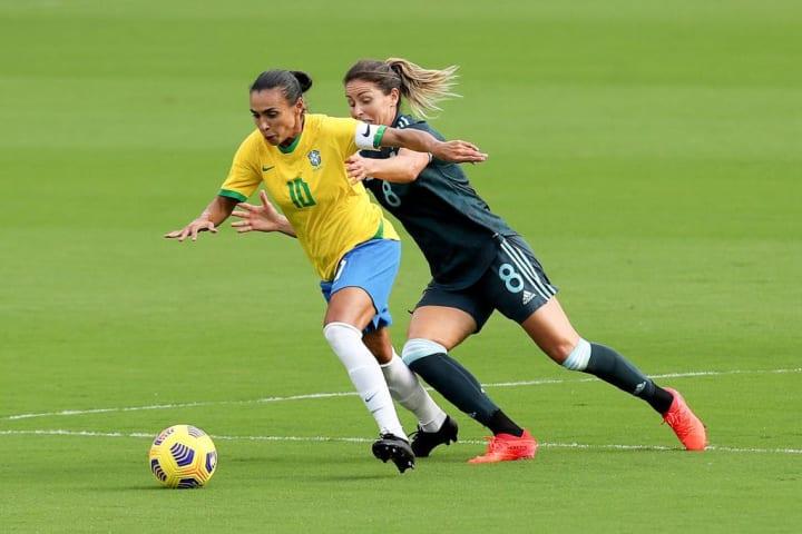Marta opened the scoring for Brazil against Argentina