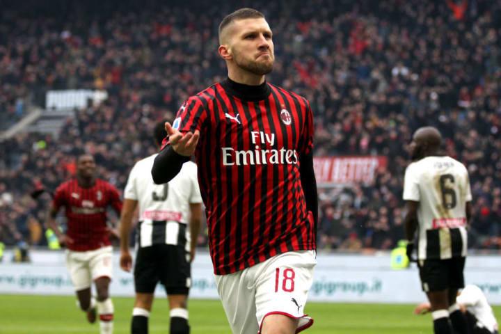 Rebic celebrates after scoring against Udinese