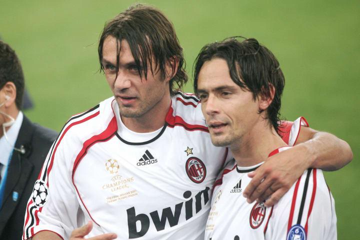 AC Milan's defender Paolo Maldini celebr...