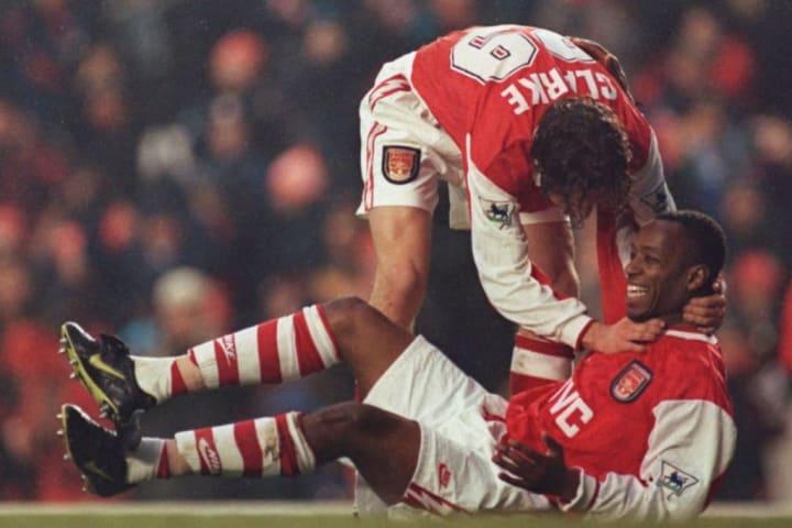 Adrian Clarke celebrates with Ian Wright
