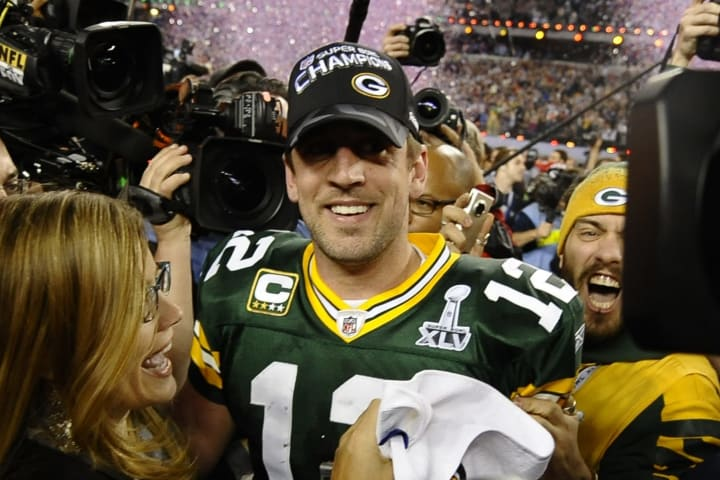 Aaron Rodgers #12 of the Green Bay Packe