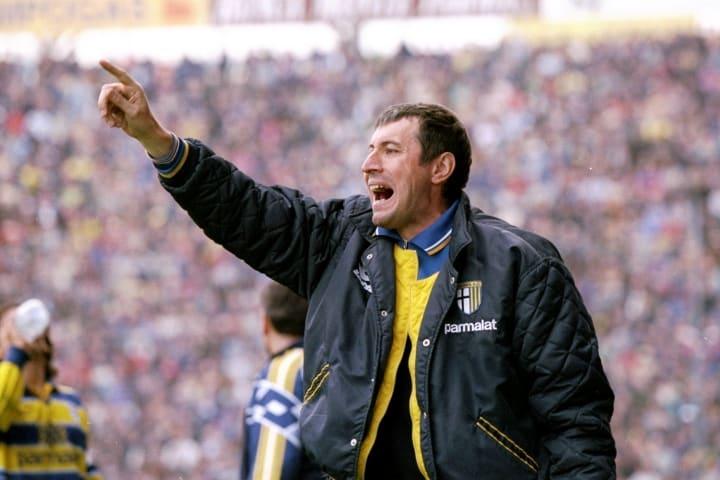 Alberto Malesani the Parma Manager shouts advice