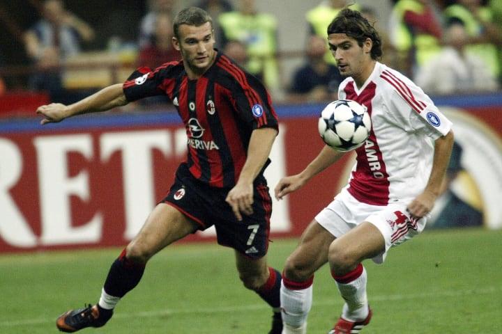 Andriy Shevchenko (L) of AC Milan in act