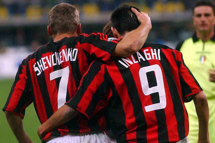 Andriy Shevchenko and Filippo Inzaghi of Milan celebrate