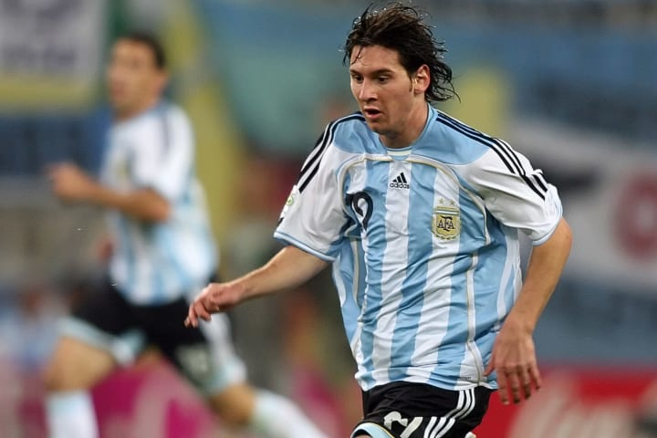 Argentinian forward Lionel Messi runs wi