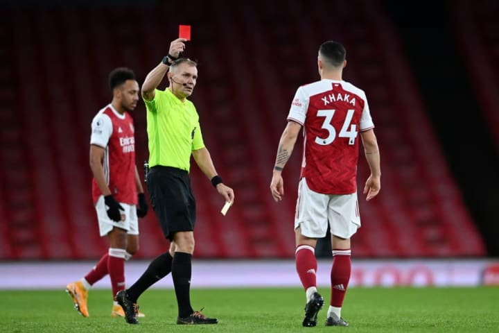 Granit Xhaka is no stranger to red cards