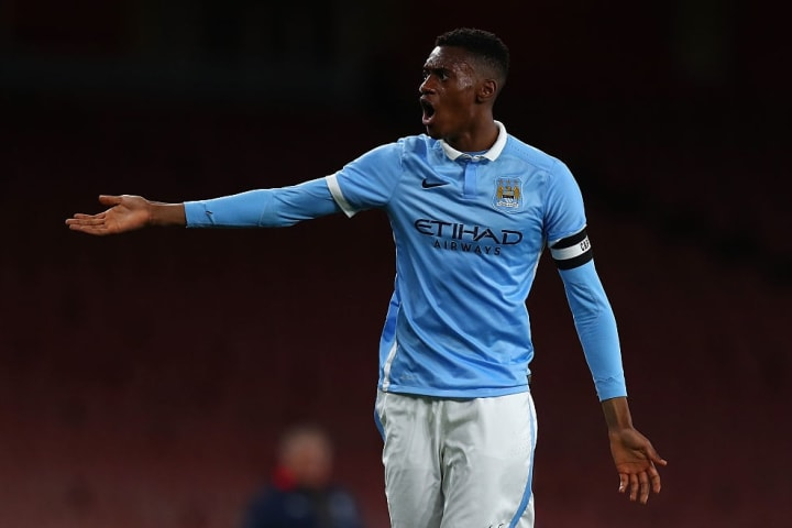 Adarabioyo in action for City in the FA Youth Cup