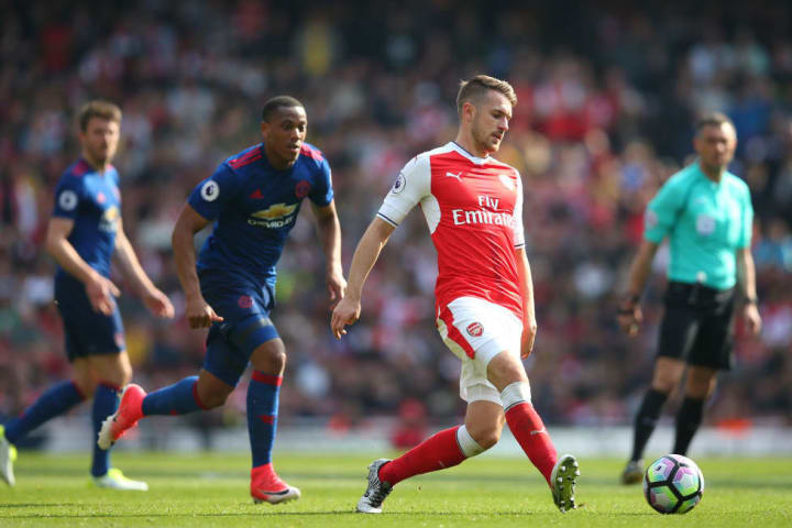 Ramsey in action for Arsenal against Manchester United