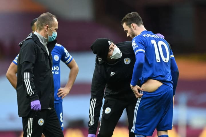 Maddison was forced off against Villa with a hip injury