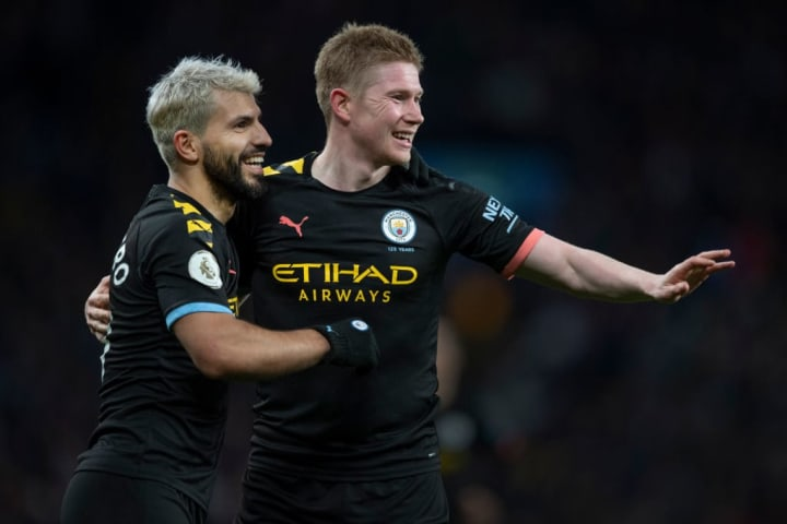 Sergio Aguero and Kevin De Bruyne celebrating