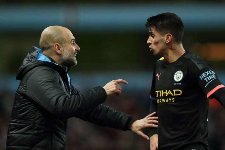 Pep Guardiola (left) has been effusive in his praise of Cancelo (right) post-lockdown