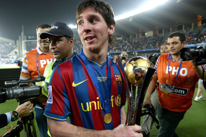 Barcelona's Lionel Messi celebrates with