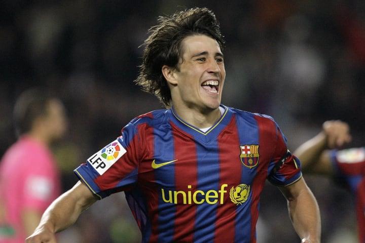 Barcelona's forward Bojan Krkic celebrat