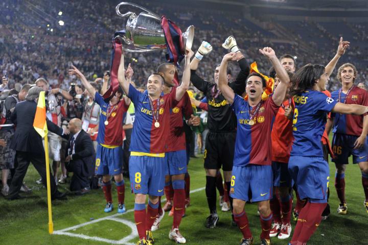 Barcelona´s midfielder Andres Iniesta ho