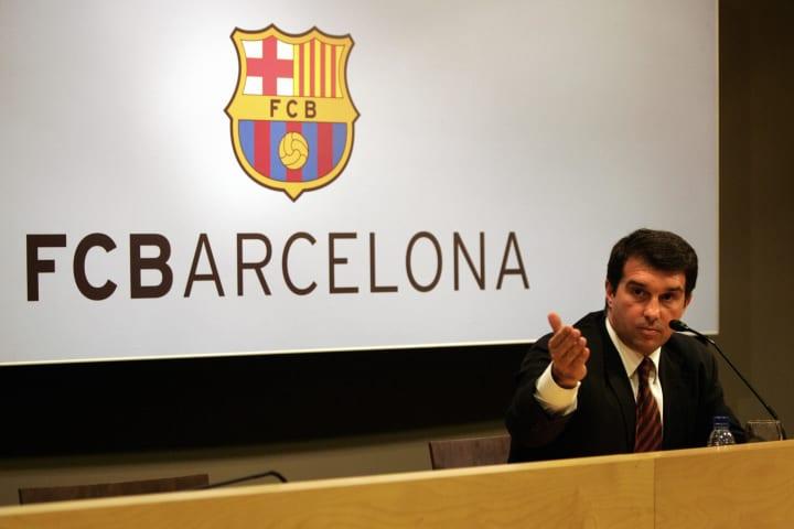 Barcelona's president Joan Laporta answe