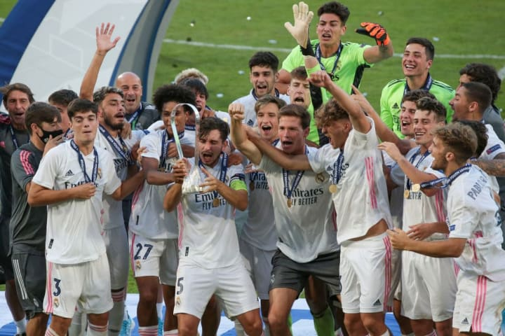 Real Madrid celebrate success in the UEFA Youth League final