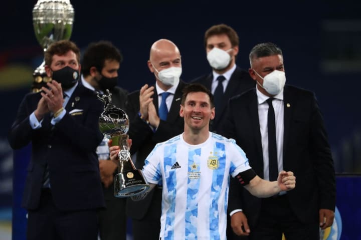 Lionel Messi, Gianni Infantino, Claudio Tapi, Alejandro Dominguez