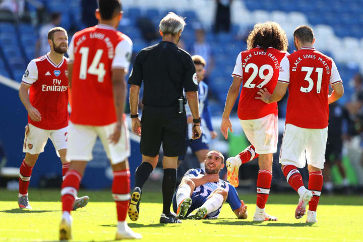 Guendouzi grabbed Brighton match-winner Neal Maupay by the throat after the full-time whistle was blown at the AMEX