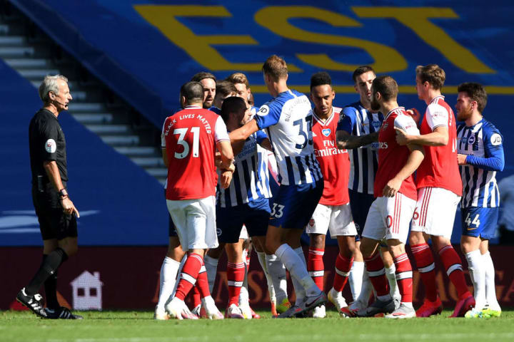 Brighton and Arsenal players engage in some fisticuffs