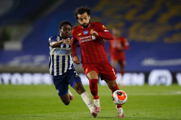 Salah's two goals and one assist were part of a standout display at the AMEX Stadium