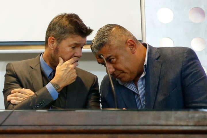 Marcelo Tinelli y Claudio Tapia: presidentes de la LPF y AFA, respectivamente.