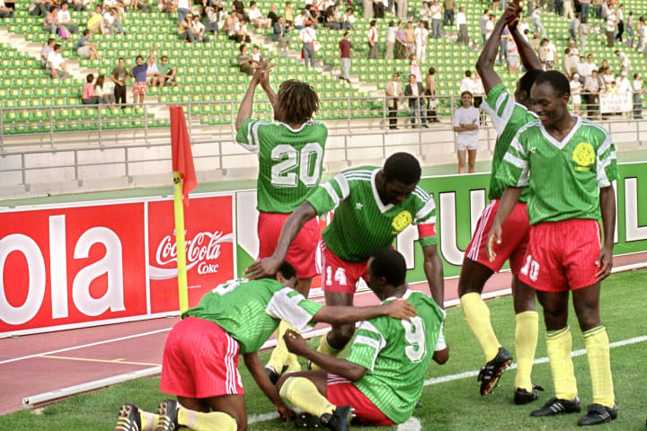 Emile Mbouh Mbouh, Cyrille Makananaky, Louis Mfede, Stephen Tataw, Roger Milla