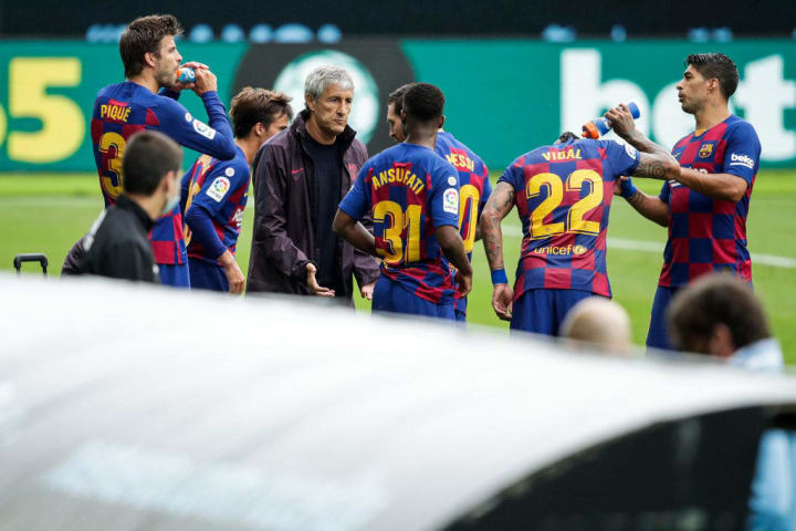 Ansu Fati, Arturo Vidal, Gerard Pique, Lionel Messi