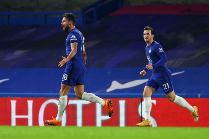Chilwell celebrates after teeing up Giroud in the first half.