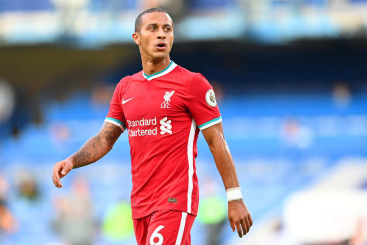 Thiago hasn't played for Liverpool since picking up a knee injury in the Merseyside derby.