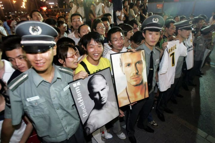 Chinese fans of England's captain David