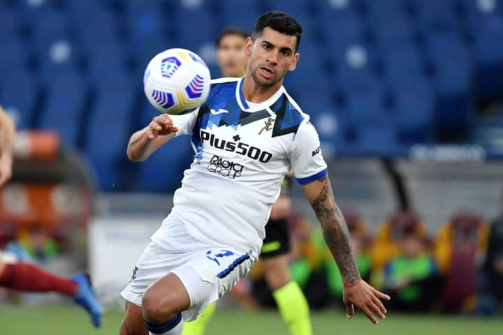 Cristian Romero of Atalanta BC in action during the Serie A...