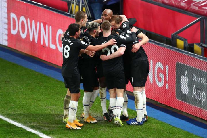West Ham celebrate Craig Dawson's goal