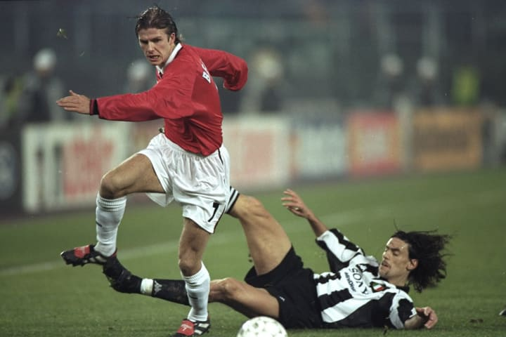 David Beckham and Moreno Torricelli
